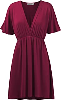 Women's Airy Short Sleeve Kimono Style Deep V Neck Dress Top S-3XL Plus Size-Made in U.S.A.