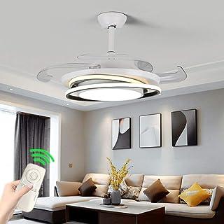 LKSS Ventilador De Techo Mod.Con LED Incorporado Y Mando A Distancia, 106 Cm. Acabado Cromo Y Blanco Con 4 Aspas Transparentes
