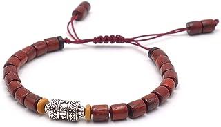 BENAVA Tibet Armband aus Sandelholz mit Mantra Zeichen - Holzperlen Braun Rot Verstellbar Damen Herren