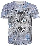 Idgreatim Männer Hip Hop 3D Druck Wolf T-Shirt Beiläufige Grafik T Shirts Kleine