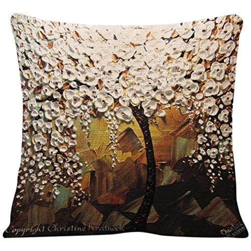 bodhi2000 Flor árbol pintura lino funda de almohada sofá cojín para decoración del hogar