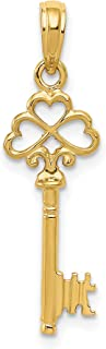 14k Yellow Gold Solid Polished 3-Dimensional Key to my Heart Pendant