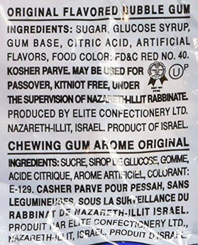 Elite Bazooka Joe Kosher Original Flavor Bubble Gum with Hebrew Comics, 6.34 OZ, 30 pieces (Pack of 2)