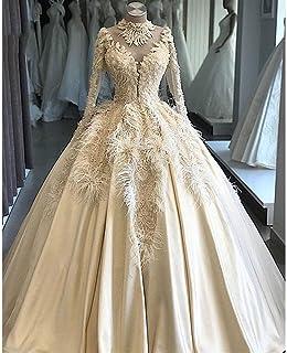 QING XIN-1225 Abiti da Sposa Lusso Elegante Piume Personalizzata Pizzo Perline Abito da Sposa Abiti di Nozze Illusion Robe...