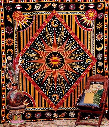 N / A Hippie Hippie Psicodélico Mandala Celestial Luna Sol Tapiz Colgante de Pared Decoración de Tela Bohemia India A3 150x130cm
