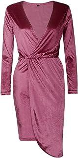 7TECH Slim Sexy V Neck Irregular Dress, Pink