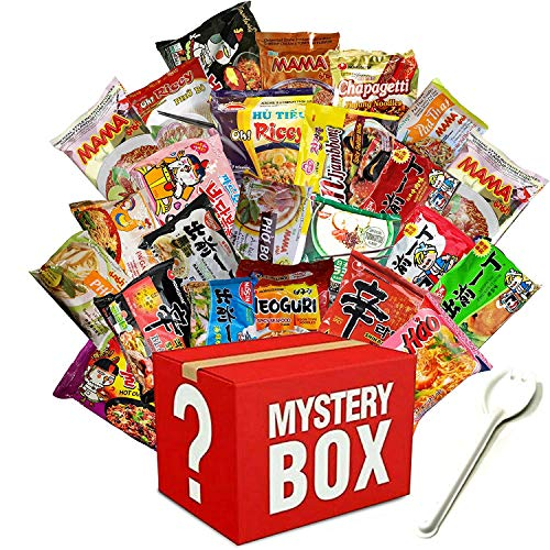 Mystery Asian Instant Ramen Variety Bundle with Spork Including - Nissin, Nongshim, Samyang, Mama, Acecook, Kung-Fu, Ottogi (15 Pack Assorted)