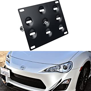 Dewhel Front Bumper Aluminum JDM Tow Hook License Plate Mount Bracket Holder Bolt On Fits Toyota GT86 Scion FRS BRZ