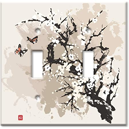 Art Plates 2 Gang Toggle Oversized Switch Plate Over Size Wall Plate Cherry Blossoms And Butterflies