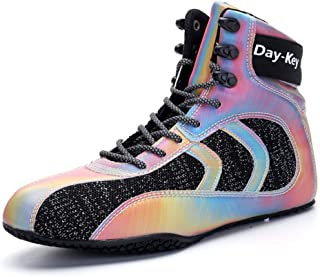Adult Boxing Shoes, Breathable Fighting Trainers Colorful Anti-Skid Lightweight Indoor Fitness Weightlifting Squat Sneakers