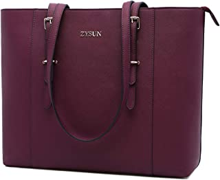 Laptop Bag for Women, Laptop Tote Bag Large Capacity Briefcase Lightweight Computer Bags Fit Up to 15.6 Inch Laptop Notebook Ultrabook,Darkberry