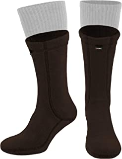 Military Warm 8 inch Boot Liner Socks - Outdoor Tactical Hiking Sport - Polartec Fleece Winter Socks (Brown Bear)