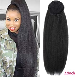 Afro Puff Drawstring Ponytail Extension Natural Long Kinky Straight Fluffy Clip In On Ponytails with Two Combs Yaki Curly Straight Hairpiece Synthetic Hair High Puff Ponytails 22 Inches Jet Black
