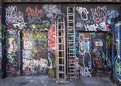 YongFoto 3x2m Vinilo Fondo de Fotografia Graffiti Pintada Pared Urbano Calle Abstracto Art Pintura Fondos para Fotografia Fiesta Niños Boby Boda Adulto Retrato Personal Estudio Fotográfico Accesorios