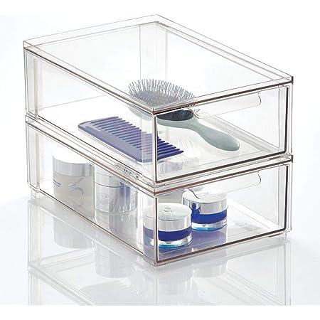 mDesign rangement maquillage – boite maquillage pratique avec couvercle en plastique – boîte en plastique pour le rangement de cosmétique et de maquillage – Lot de 2 –Transparent