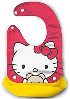 Baby Bib Hello Kitty in Red Tiny Waterproof Feeding Bibs for Babies and Toddlers with Food Catcher Pocket