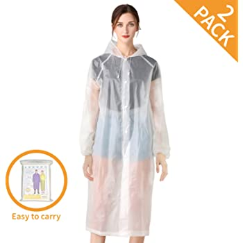 """Craftersmark Rain Ponchos for Adults - 2 Pack Emergency Rain Poncho for Hiking Travel Safety Protection, Waterproof Rain Coats for Women and Men with Drawstring Hood, Size 46.85"""" x 38.11"""""""