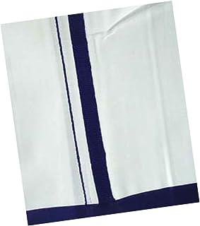 PRAKASAM COTTON FANTACY MEN'S WHITE DHOTI WITH BLUE BARDER (1.26 X 2.00 METER)