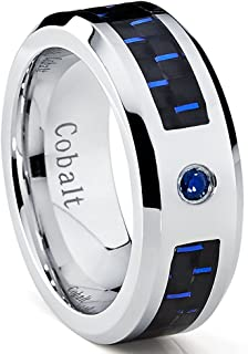 Metal Masters Co. Cobalt Men's Wedding Band Ring with Black and Blue Carbon Fiber Inlay and 0.05 Carat Blue Sapphire