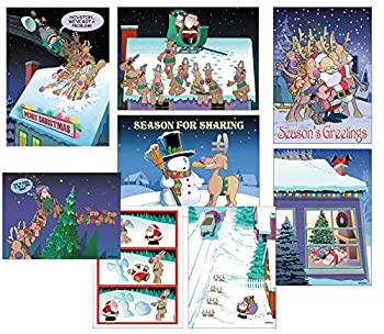 Box Set of 24 Funny Christmas Cards by Stonehouse Collection - 8 Designs 3 Cards Per Design