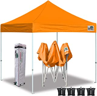Eurmax 10'x10' Ez Pop Up Canopy Tent Commercial Instant Canopies with Heavy Duty Roller Bag,Bonus 4 Sand Weights Bags(Bright Orange)