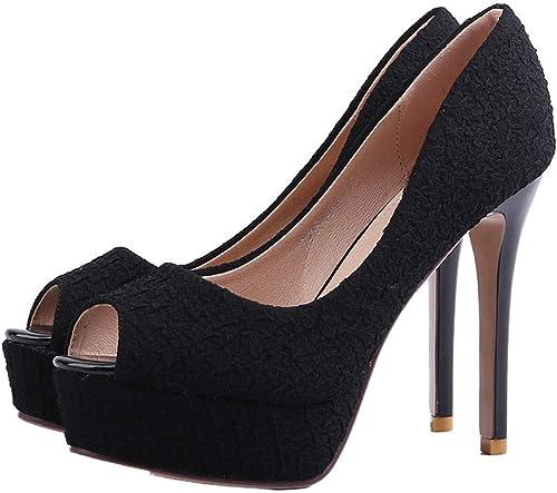 GTVERNH-Bouche de Poisson Chaussures étanches des Tableaux des Talons Hauts Les Talons 11cm des bouches Chaussures des Chaussures à la Mode.
