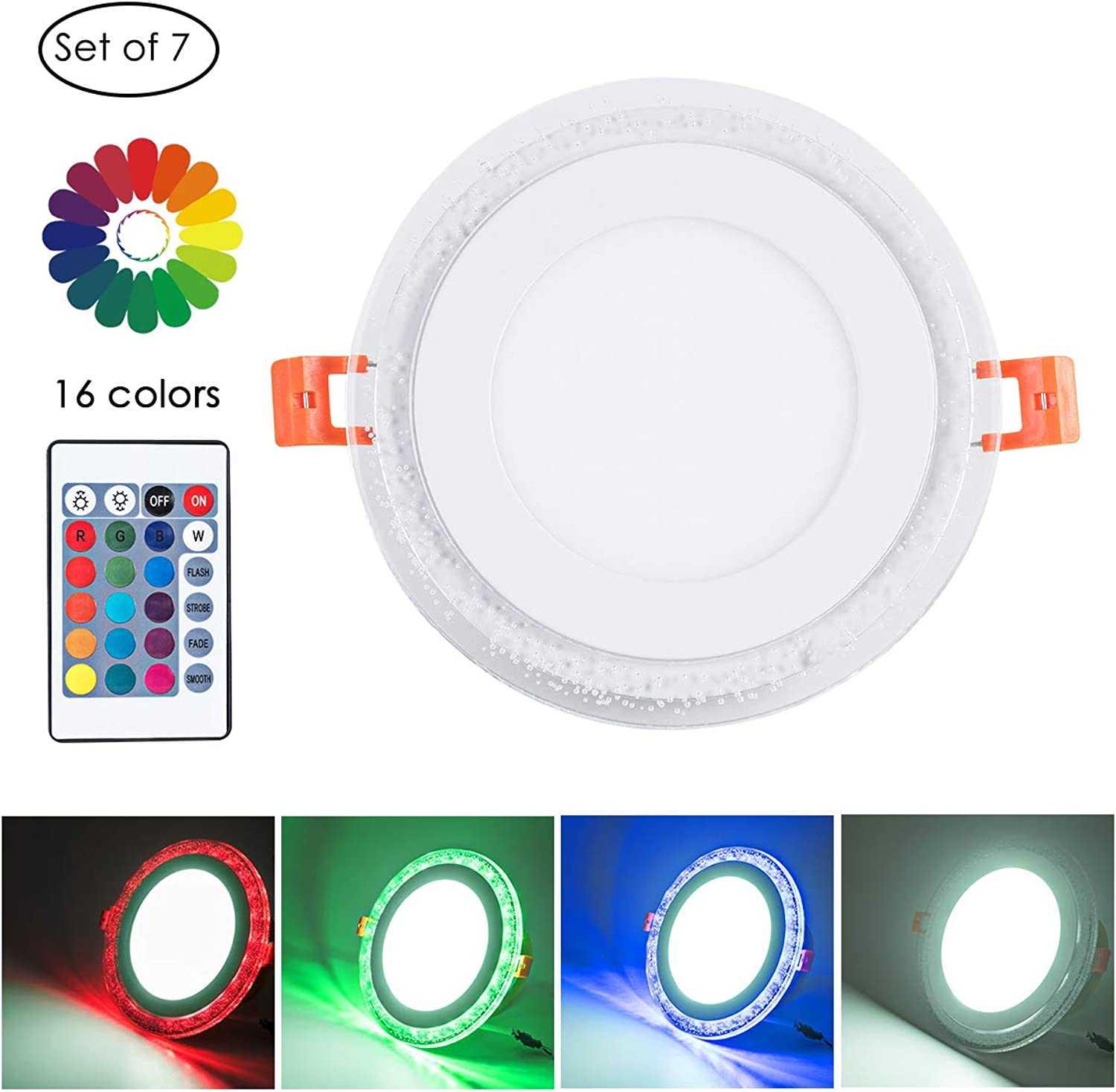 Remote Control 4  Cool White + RGB LED Round Panel Light, color Changing Ultra Thin Recessed Ceiling Lights with Driver, AC100-240V 6+3W, 6500K Cool White+RGB for Office, Home, Living Room, Pack of 7