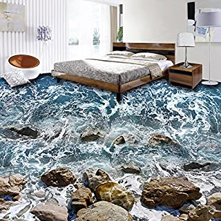 TIANXINBZ 3D Flooring Wallpaper Seaside Sea Waves Stones Living Room Bedroom Bathroom Waterproof Floor Mural Wallpaper Hom...