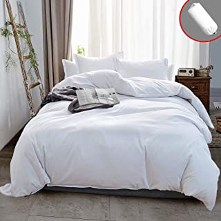 Vailge 3 Pieces Ultra Soft Duvet Cover Set with Zipper Closure, 100% 120gsm Microfiber Quality Premium Duvet Cover, Light Weight & Easy Care Bedding Duvet Cover (White,Full)
