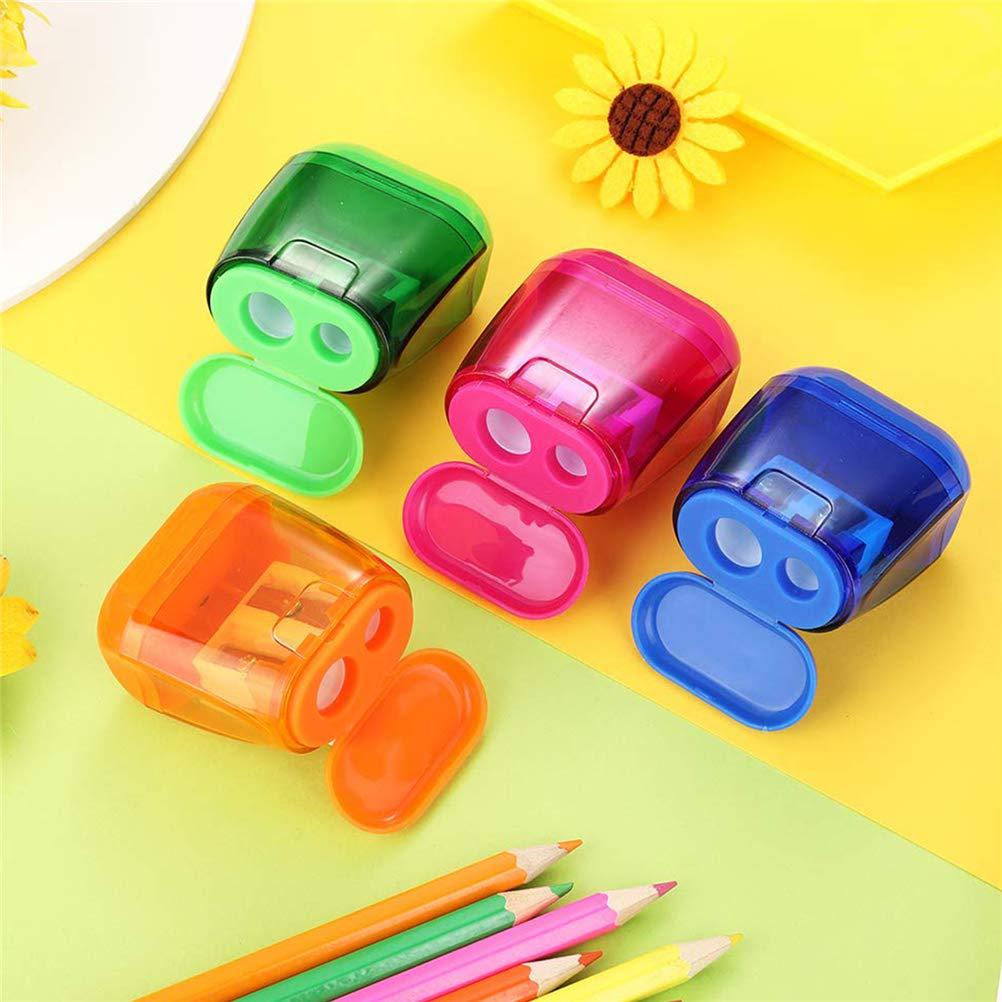 Pack de 12 sacapuntas manual de doble agujero, sacapuntas con tapa de lápiz, accesorios para el hogar de oficina de la escuela 12pcs: Amazon.es: Oficina y papelería