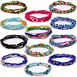 12 Pcs Waist Beads Body Chains,Jewelry Colorful Elastic Beads Waist,Se Belly Beads African Waist Bead, African Belly Waist Bracelet Anklet Necklace Bead Stretchy Elastic String Summer Beach Jewelry