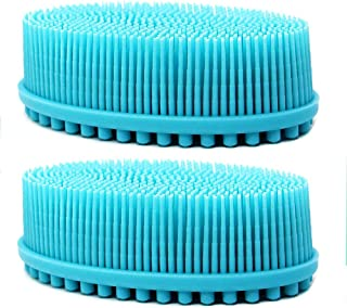 Loofah Exfoliating Body Scrubber 2 in 1 Face And Body Silicone Scrubber - Antibacterial Silicone Shower Brush Bath Sponge Loofa (2 pack-blue)