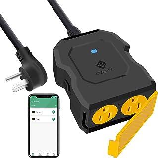 پلاگین هوشمند در فضای باز ، راه اندازی آسان Etekcity پریز خروجی مانیتورینگ انرژی WiFi با 2 سوکت ، کار با الکسا ، Google Home ، کنترل از راه دور بی سیم / تایمر ، 15A / 1800W ، ضد گرمای بیش از حد ، IP44 ضد آب ، ETL ذکر شده