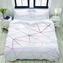 HKIDOYH Duvet Cover Set,Marble Texture with Rose Gold Geometric Pattern Background,Polyester 3 Piece Bedding Set with 2 Pi...
