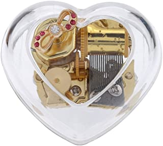 YouTang Heart-Shape Creative Transparent Acrylic 18-Note Wind-up Musical Box,Musical Toys,Tune:Edelweiss,Clear