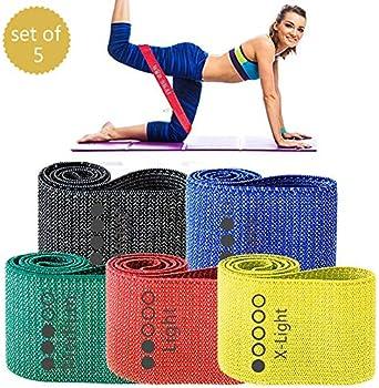 Set Of 5 Wodskai Non Slip Elastic Legs & Butt Exercise Bands