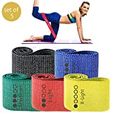 WODSKAI Fabric Resistance Bands for Legs and Butt, Loop Hip Bands, Set of 5 Non Slip Exercise Bands,...