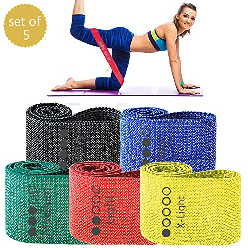 WODSKAI Resistance Bands for Legs and Butt Exercise Bands Non Slip Elastic Booty Workout Bands Women/Men Stretch Exercise Loops with Carry Bag Fabric Sports Fitness Bands for Squat Glute Set of 5