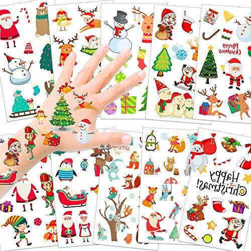 HOWAF 110pcs Navidad Tatuajes temporales para niños, Falso Árbol Muñeco de nieve Papá Noel Tatuaje Pegatinas para Chicos Niñas niños Infantiles Navidad Fiesta de cumpleaños Regalo piñata