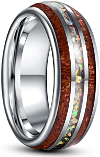 Sponsored Ad - NUNCAD 8mm Men's Tungsten Rings Inlaid with Hawaiian Koa Wood and Crushed Opal Domed Wedding Engagement Rin...