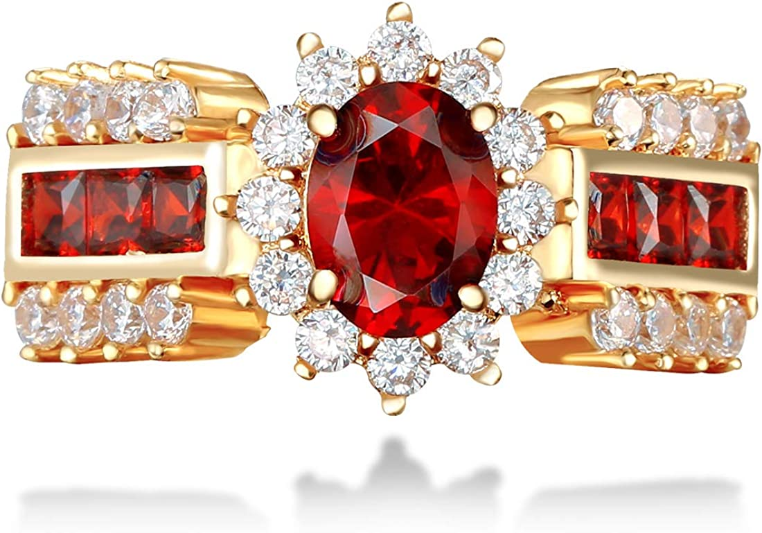 UOKOHO Red Jewelry Red Rings for Women Engagement Band 10KT Yellow Gold Filled Crystal Wedding Ring