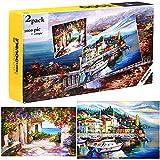 Nabance 2 Pack Puzzle de 1000 Piezas para Adultos, Puzzle de 500 Piezas, Obra de Arte de Juego de Rompecabezas para Adultos, Paisaje de Ciudad Costera
