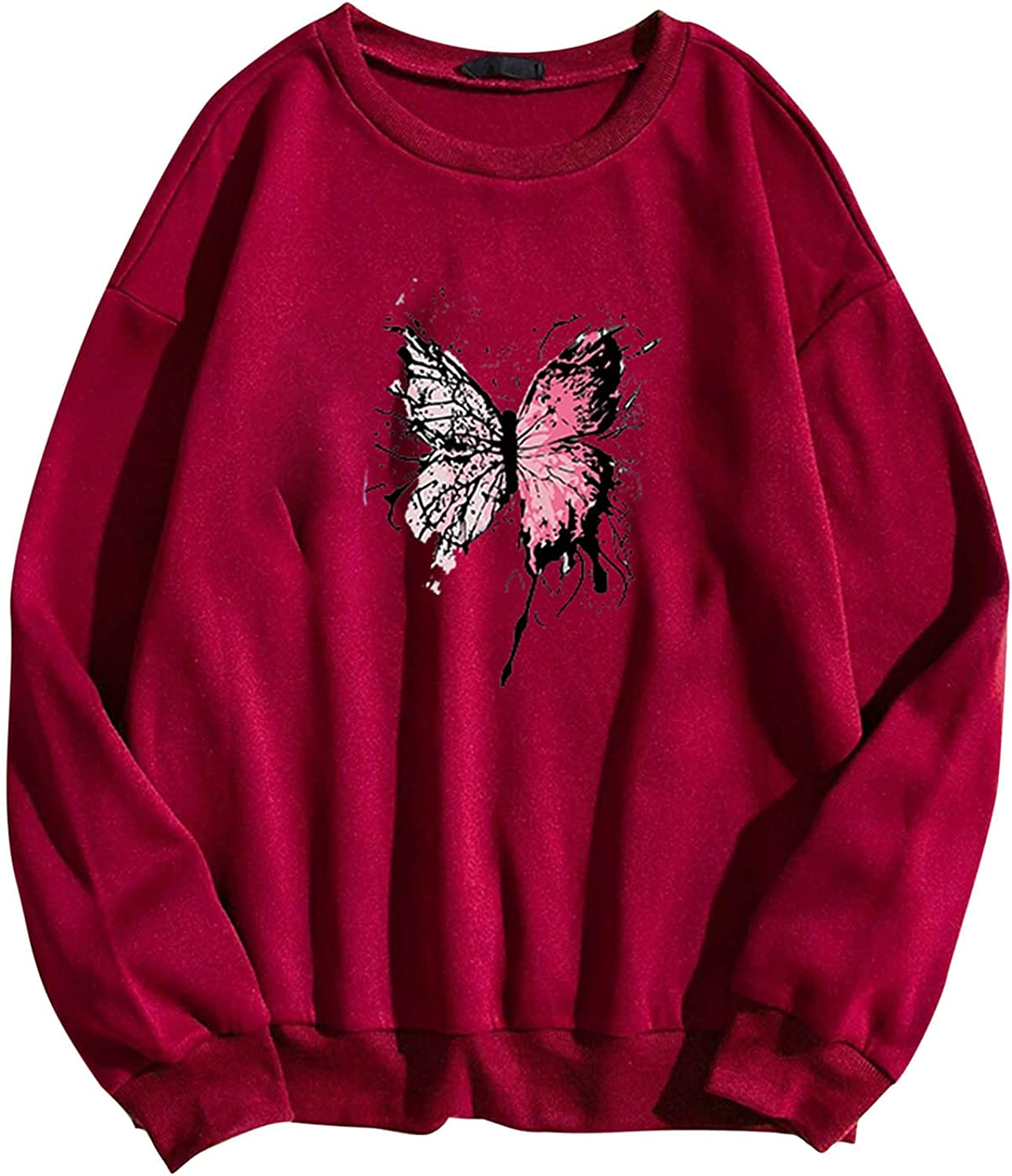 Women Long Sleeve Sweatshirt Fashion O Manufacturer direct delivery Butterfly Casual Printing 5 popular