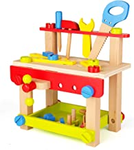 SainSmart Jr. Wooden Bench Wooden Workbench with Tools for Toddlers, Kids Creative Wooden Building Set Construction Toy for 3 Years Old and up