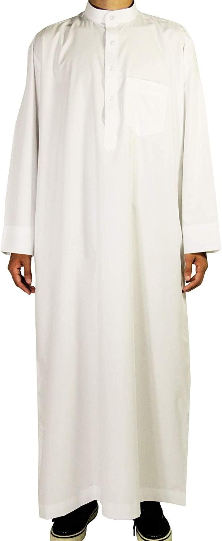 Hijaz White Relax Loose Fit Long Sleeve Men's Formal Thobe Cotton Arab Robe - 60