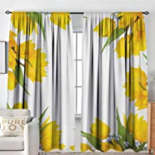 NUOMANAN Bathroom Curtains Yellow Flower,Abstract Frame Yellow Tulip and Blue Forget Me Knot Blooms Bouquets,Mustard Fern Green,Drapes Thermal Insulated Panels Home décor 54