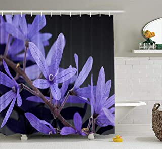 Ansote Purple Shower Curtain, Purple Flowers Wreath Queen Vine Beautiful Fabric Bathroom Shower Curtain Elegant 72x78 Inch Waterproof Polyester Bath Curtains Fashion Bathroom Decor,Purple Flowers