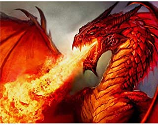 Adult Wooden Puzzle 1000 Pieces Red Flaming Dragon.Picture Photo Home Decor