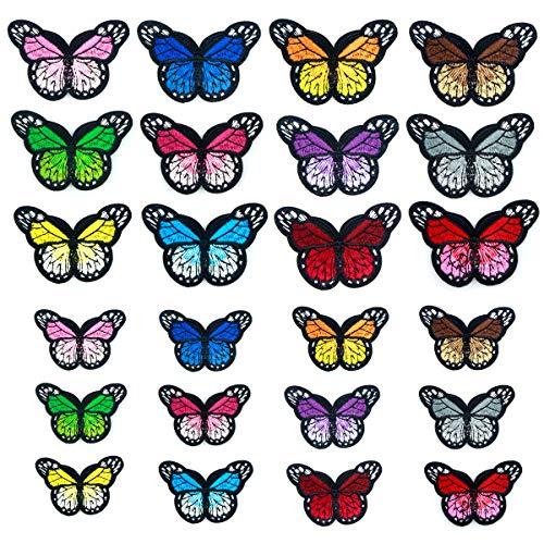Natuce 24 Stück Stickerei Schmetterling Patches Aufnäher Stickerei Applikationen Nähen Eisen Auf Patch Abzeichen Bestickte Stoff DIY Kleidung Tasche Hut – Mehrfarbig