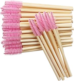 100 PCS Pink Bamboo Eyelash Brushes Mascara Wands Eye Lash Eyebrow Applicator Cosmetic Makeup Brush Tool Kits